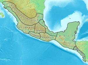 Mapa de las áreas culturales de Mesoamérica.