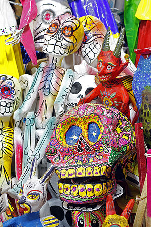 English: Paper maché figures in Guanajuato Mar...