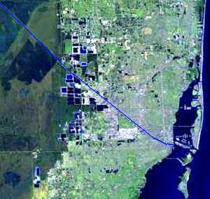 Miami River (Florida) - Map of Miami, Florida with the river in blue