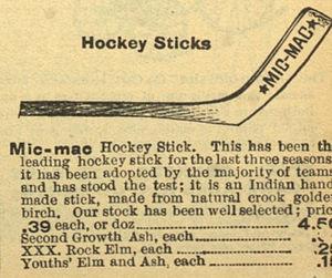 Mic-Mac hockey stick - Mic Mac Hockey Stick in Eaton's catalogue, 1904