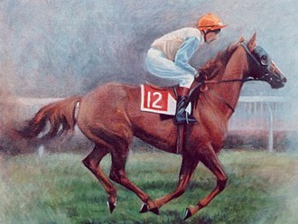 Michael Allingham (economist) - At Newmarket (oil on canvas by Sally Martin 2000)