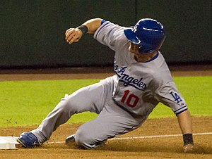 Michael Young (baseball) - Young as a Dodger in September 2013, the final month of his playing career