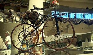 Michaux-Perreaux steam velocipede on display at The Art of the Motorcycle exhibition at the Guggenheim in New York in 1998.