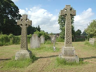 Villiers family - Graves of the 7th (left) and 8th (right) Earls of Jersey in All Saints' parish churchyard, Middleton Stoney, Oxfordshire