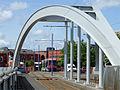 Midland Metro line entering Wolverhampton terminus - geograph.org.uk - 1456535.jpg