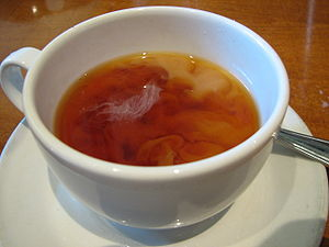 Tea in the United Kingdom - Tea with milk that has not yet been stirred