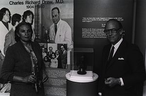 Charles R. Drew - Minnie Lenore Robbins with NIH Director, Donald Frederickson, unveiling of bust and exhibit of her husband, 1981