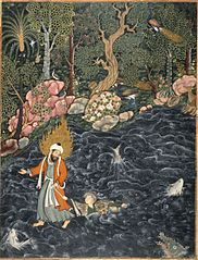Elijah rescuing Prince Nur ad-Dahr from drowning in a river