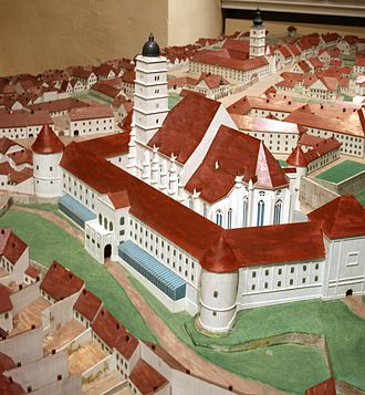 Kaptol, Zagreb - Miniature model of Zagreb Cathedral on Kaptol with the old bell-tower
