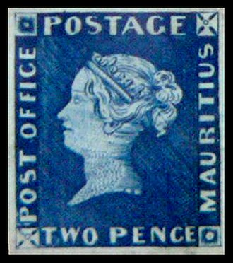 """Mauritius """"Post Office"""" stamps - Image: Modry mauritius"""