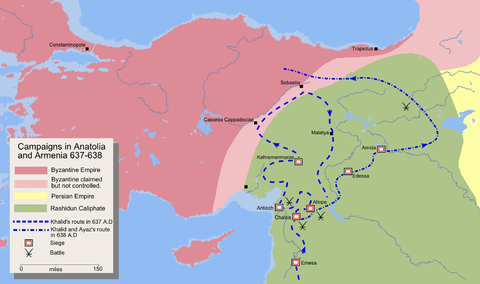 Map detailing the route of Khalid ibn al-Walid's invasion of Eastern Anatolia and Armenia Mohammad adil rais-Invasion of Anatolia and Armenia.PNG