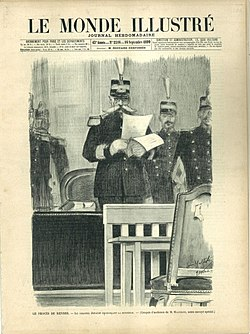 El coronel Jouaust, presidente del Consejo de Guerra, lee el veredicto de condena, en primera plana del semanarioLe monde illustré.