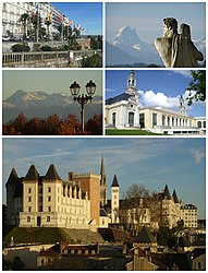 Top, left to right: The Boulevard des Pyrénées and the Pic du Midi d'Ossau Middle, left to right: The Pic du Midi de Bigorre and the Palais Beaumont Bottom: The Château de Pau