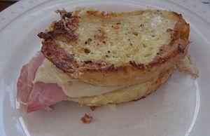 """A """"Monte Cristo"""" sandwich. Bread coo..."""