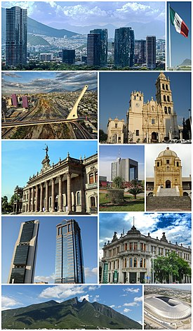 Top left: View of the city, Puente de la Unidad, Estadio BBVA, Banorte Financial Group Building, Metropolitan Cathedral of Our Lady, Torre Ciudadana, Saddle Mountain (Cerro de la Silla), Valle Oriente district and the Government Palace Museum.