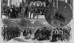 Equale - Trombone choirs announce a death from the belfry and play at a burial service in the Moravian community in Bethlehem, Pennsylvania, 1874.