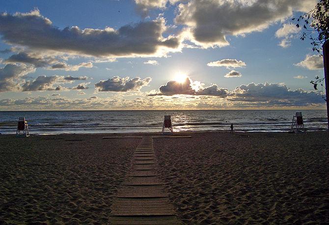 Lake Michigan Morning Beach Scene