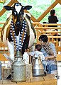 Mother and Child with Cow Statue - Cheese Factory - Furano - Hokkaido - Japan (48012302622).jpg