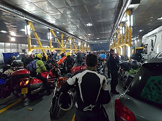 Isle of Man Steam Packet Company - Motorcyclists on the Manx ferry from Liverpool