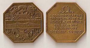 Mount Hope Bridge - Image: Mount Hope Bridge commemorative medal (1929)