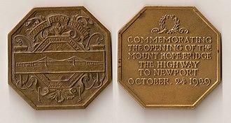 Mount Hope Bridge - Image: Mount Hope Bridge commemorative medal (1929)