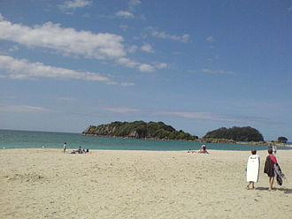 Tauranga - Mount Maunganui Main Beach in winter, with 'Leisure Island' in the background.