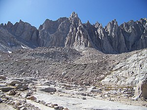 Mount Muir - Mount Muir's East Face and the Sierra crest as seen from Trail Camp on the Mount Whitney Trail during September of a drought year.