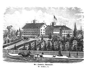 History of Shimer College - Mount Carroll Seminary, engraving, 1878.