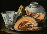 Munari, Cristoforo - A Still-Life with Melon, an octagonal blue and white cup on a Silver Charger.jpg