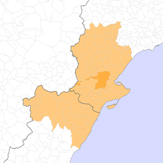 Ilercavonia - Present extent of the Diocese of Tortosa.