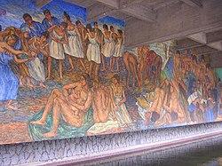 Detalle del mural de Pedro Nel Gomez en la Biblioteca Central, Universidad de Antioquia, Medellín
