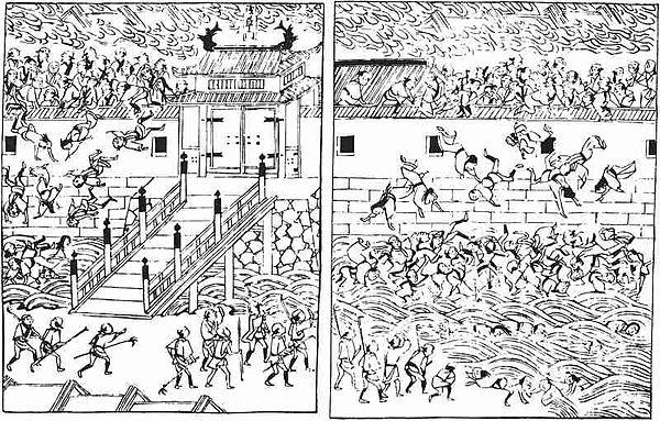 『むさしあぶみ』より、明暦の大火当時の浅草門。牢獄からの罪人解き放ちを「集団脱走」と誤解した役人が門を閉ざしたため、逃げ場を失った多数の避難民が炎に巻かれ、塀を乗り越えた末に堀に落ちていく状況。