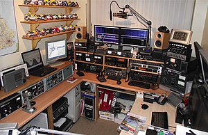 Amateur radio - An amateur radio station in the United Kingdom. Multiple transceivers are employed for different bands and modes. Computers are used for control, datamodes, SDR and logging.