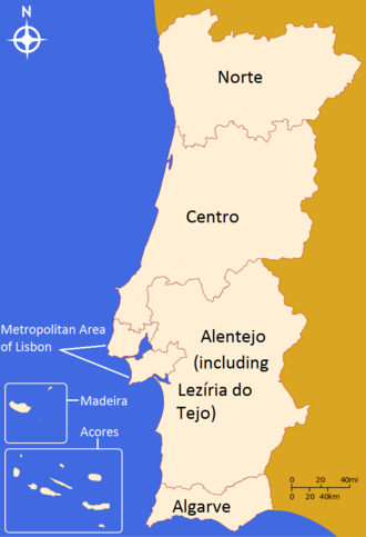 NUTS statistical regions of Portugal - Territorial map corresponding to the NUTS I and NUTS II designations