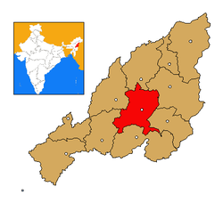 Zunheboto district's location in Nagaland