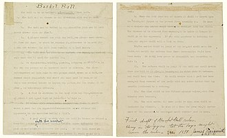 Typewritten first draft of the rules of basketball by Naismith Naismith Rules of Basketball 1892 first draft.jpg