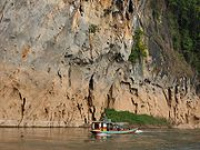 A ferryboat on the Nam Ou river. Rivers are an important means of transport in Laos.