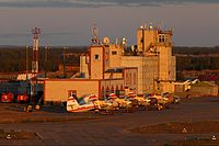 Naryan-Mar Airport during midnight sun (June 2014).jpg