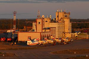 Naryan-Mar Airport - Image: Naryan Mar Airport during midnight sun (June 2014)
