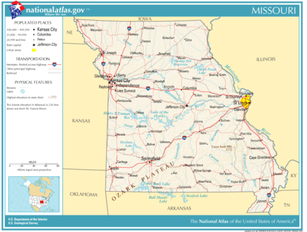 Map of Missouri, showing major cities and roads National-atlas-missouri.png