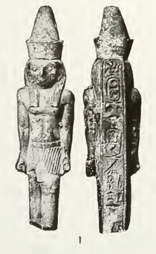 Horus statuette bearing the cartouches of Necho I. London, Petrie Museum.