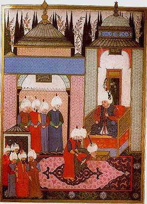 Selim II - Sultan Selim II receiving the Safavid ambassador in the palace at Edirne in 1567.