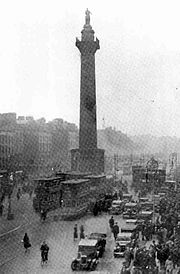 The former Nelson's Pillar on O'Connell Street which was destroyed by the IRA.