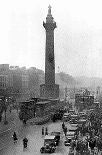The former Nelson's Pillar on O'Connell Street which was blown up by the IRA