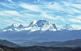 Cordillera Blanca - From left to right: Huandoy, Huascarán (highest mountain in the range) and Chopicalqui.