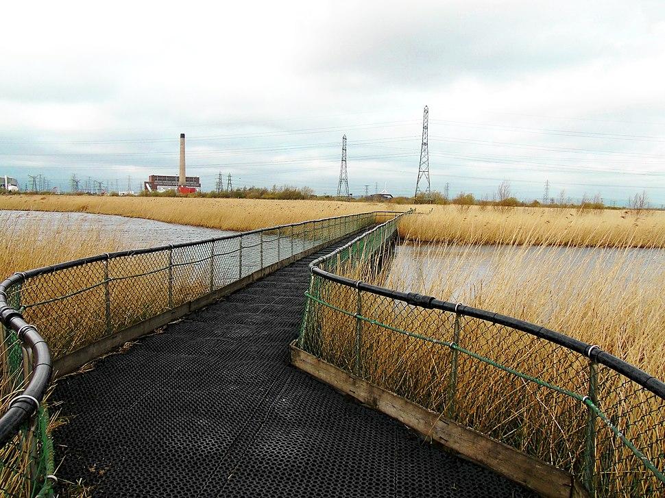Newport Wetlands RSPB Reserve Floating Walkway Facing Northwards