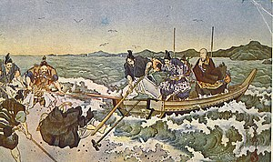 Nichiren - When Nichiren is exiled in 1261, Nichirō wants to follow Nichiren; but Nichirō is forbidden to do so -- Postcard artwork, circa 1920s.