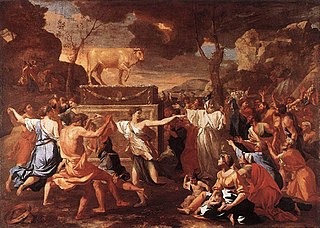<i>The Adoration of the Golden Calf</i> painting by Nicolas Poussin