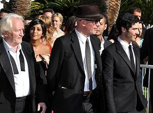 A Prophet - Director Jacques Audiard (center) and stars Niels Arestrup and Tahar Rahim at the 2009 Cannes Film Festival.