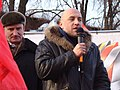 Nikolay Ryabov and Zakhar Prilepin on tribune, Nizhny Novgorod rally 4 February 2012.JPG